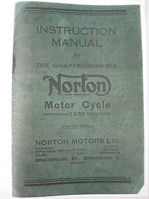 VINTAGE NORTON INSTRUCTION BOOK OHV & SV 1939