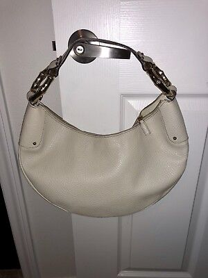 Ring Hobo Handbag Purse Bag - GUCCI Leather BAMBOO RING HALF MOON Hobo Hand Bag Purse off white/ Ivory