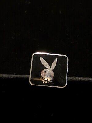 Playboy Bunny Cufflinks (Vintage Silver Tone Playboy Bunny Black Single)