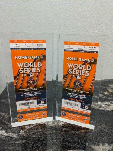 Houston Astros 2017 World Series Game 5 Ticket Stub Embedded in Lucite