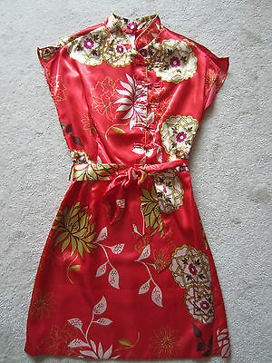 Costume With Red Dress (Halloween Costume Asian XXI ASIAN RED SHORT SLEEVED SHORT DRESS WITH BELT)