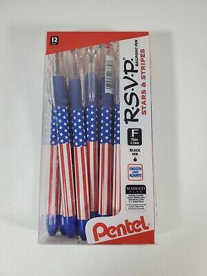 Pentel Rsvp Ballpoint Pen 0.7mm Fine Line Usa Flag Barrel Black Ink12 Count