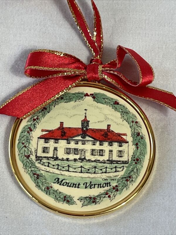 Mount Vernon Washington Home Wreath Round Barlow Christmas Ornament In Box