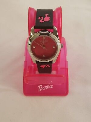 Barbie Analog Watch - Hot Pink Dial and Black Strap Stamped  Barbie's Profile Dial Pink Strap Watch