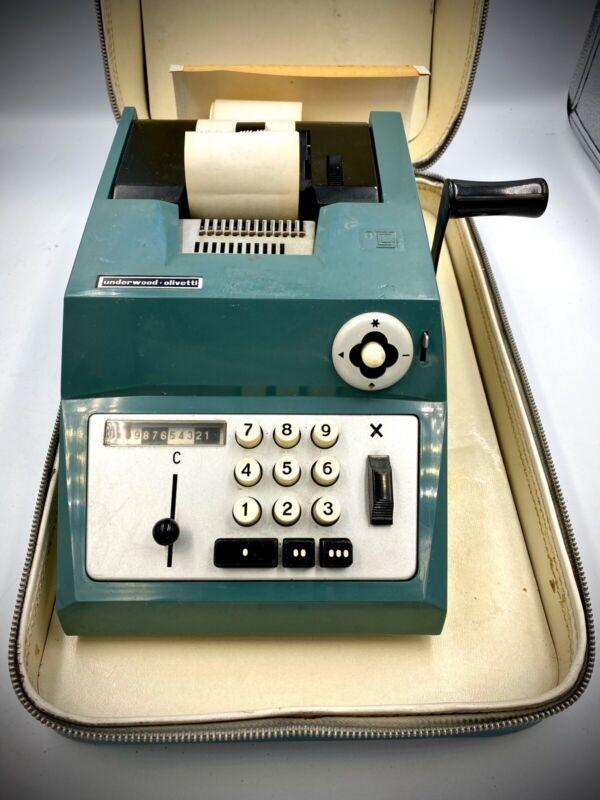Rare Vintage Olivetti Underwood Green Manual Adding Machine Calculator W Case