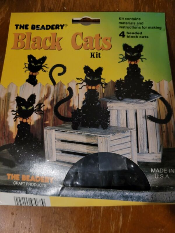"""The Beadery Black Cats Kit Vintage Makes 4 Cats 3"""" Halloween Craft Made in USA"""