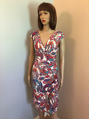 RALPH LAUREN Sz 8 White Paisley Jersey Surplice Cap Sleeve DRAPED SHEATH DRESS