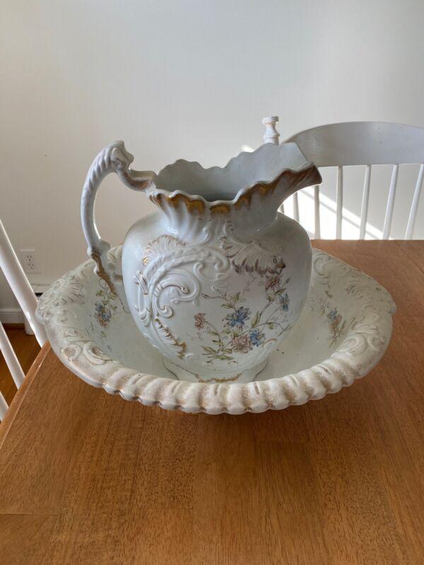 Antique Trilby Menelik Pottery Basin And Pitcher - Large