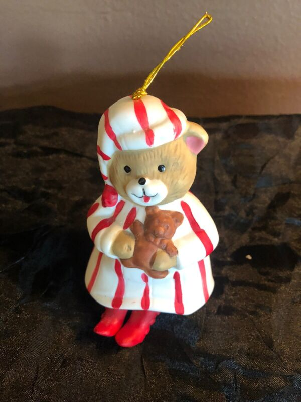 Vintage Giftco Teddy Bear In PJ's Christmas Ornament Bell Dangle Legs