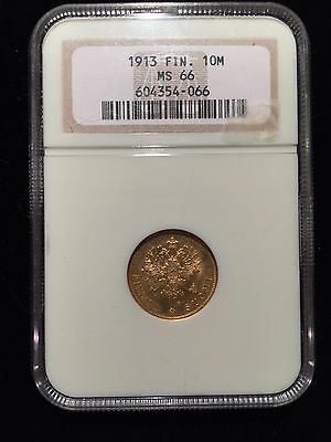 1913 S Finland Imperial Russia 10 Markkaa Gold NGC MS66 Helsinki Mint