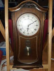Bulova Clocks C3542 Cranbrook Wall Mount Analog Wooden Chiming Clock, Brown