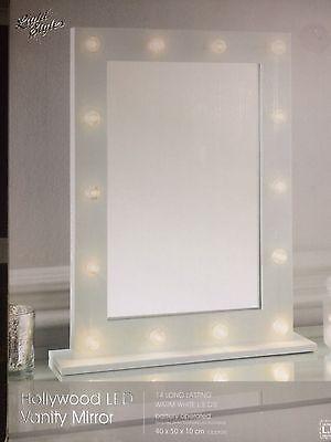 White HOLLYWOOD 14 LED light Vanity MIRROR bedroom bathroom dressing Table 50x40