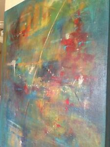 Giant blue abstract oil on canvas signed T. Harrison