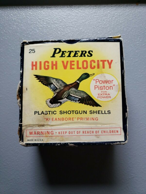 "Peters High Velocity Plastic Shotgun Shells Box 12 Ga 2 3/4"" Empty Box No Shells"