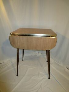Original Small Mid Century Drop Leaf Formica Kitchen Table