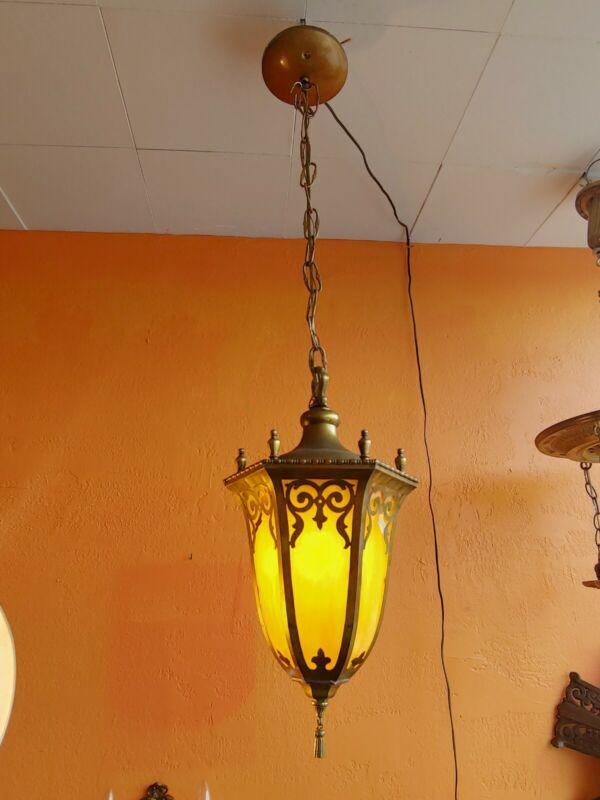 Antique Arts & Craft ornate solid Brass Hallway light fixture chandelier
