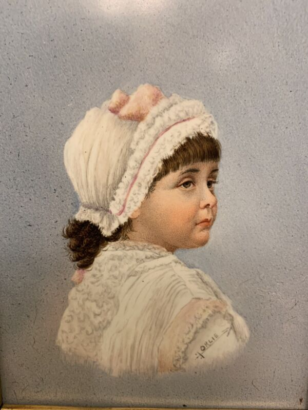 Antique Hand Painted Porcelain Plaque of a Young Girl 1880 French Artist Orlie