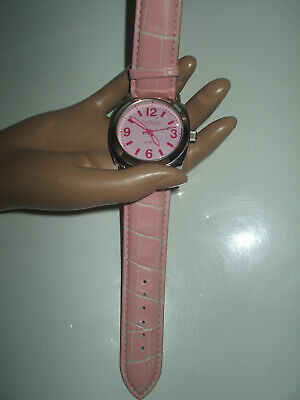 JOAN RIVERS CLASSIC COLLECTION DESIGNER LARGE FACE PINK WATCH WITH LEATHER STRAP