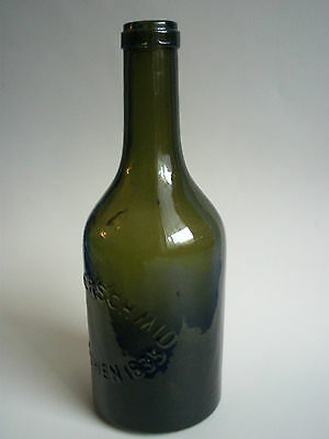 alte Likörflasche Anton Riemerschmid München, Schnaps, Glas,   ca. 1910