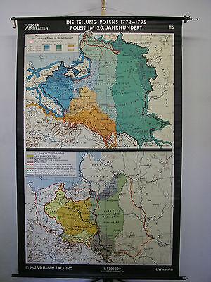 Schulwandkarte Old Wall Map Division Polen-Litauen Mapa Polska 136x215 1961