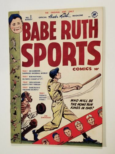 1949 ORIGINAL BABE RUTH SPORTS COMIC BOOK #3 AUGUST JOE DIMAGGIO COVER POWELL
