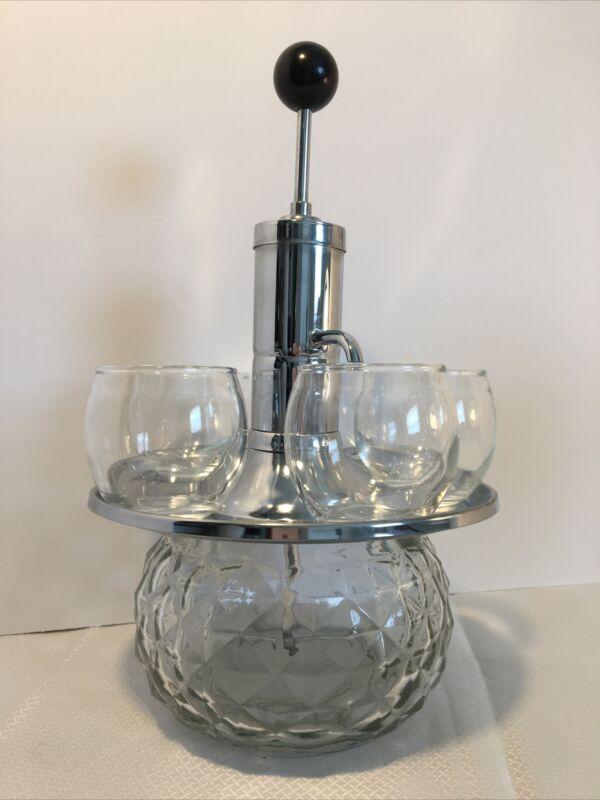 Vintage Carousel Pump Park Sherman Drink Shot Dispenser Chrome 5 Glasses MCM EVC