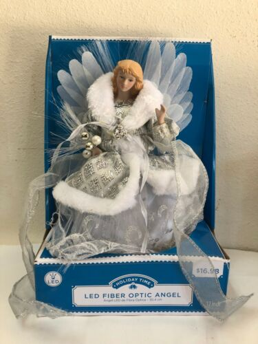 """Holiday Time Angel Color Changing LED Fiber Optic 12"""" Christmas Tree Topper"""