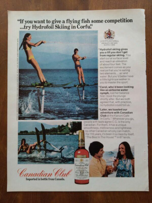 1974 Canadian Club Whiskey Hydrofoil Skiing Photo Girl Bikini Vintage Print Ad