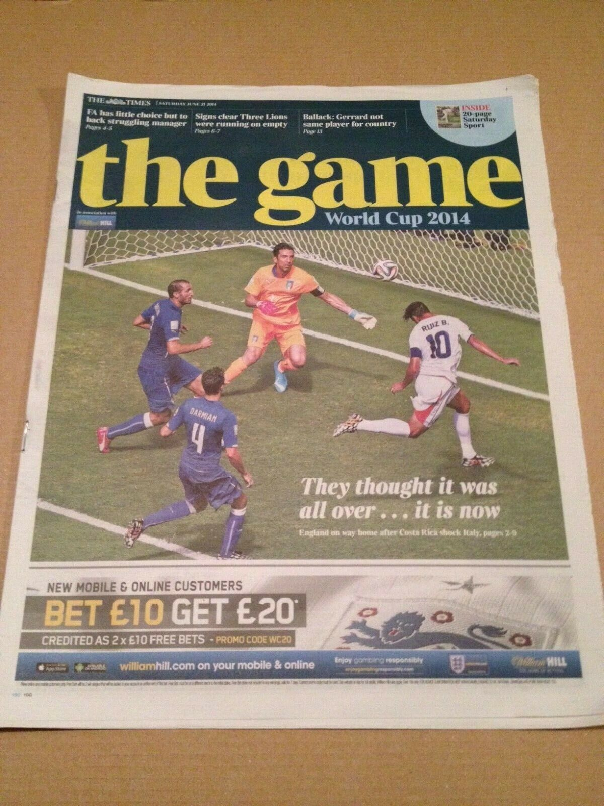 THE GAME WORLD CUP FINALS BRAZIL 2014 THE TIMES NEWSPAPER SUPPLEMENT 21/06/14