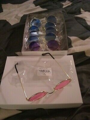 1 Dz John Lennon Style Novelty Sunglasses Gold Colored Frames W/Asst Lens (Novelty Frames)