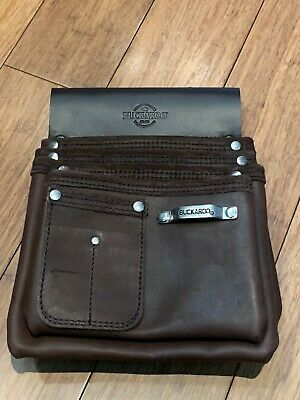 BUCKAROO (NBS4) 4 POCKET NAILBAG WITH TAPE CLIP IN BROWN - NEW NEVER USED !