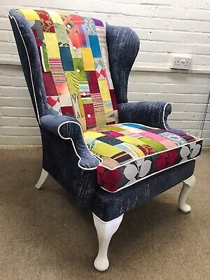 Material Samples Only For Parker Knoll Chair Upholstered In Patchwork Desig