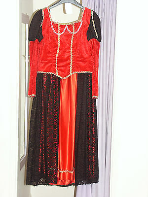 Women's Red Anne Boleyn Tudor Dress Costume UK 12 (164) - Anne Boleyn Costume