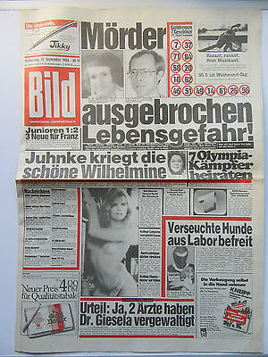 Bild Zeitung vom 13.9.1984, Julia Biedermann, Olivia Pascal, Geburtstagsgeschenk