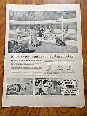 1956 Ethyl Ad  Driving Ad Every Weekend Vacation Average Driving Costs Family 4