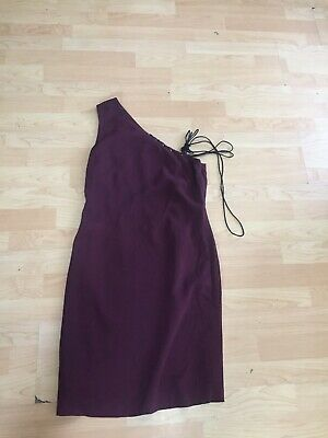 VERSUS VERSACE Vintage One Shoulder Dress Sz 44 (european) Burgundy Red K21