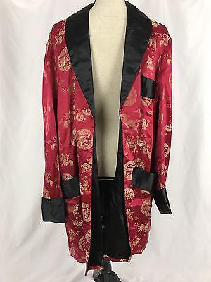 Vintage Solz Squirrel Men's Kimono Robe Red Chinese Dragon Bath Smoking Size 50