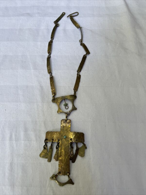 Vintage Brutalist Modernist brass necklace with turquoise