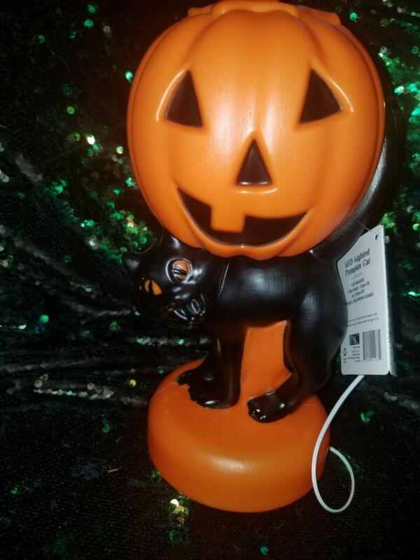Vtg style Blow Mold Light Halloween Black Cat Pumpkin NEW w tag SPOOKY cute