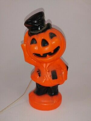"Vintage 1969 Halloween Empire Top Hat Scarecrow Blow Mold Jack-O-Lantern 14"""