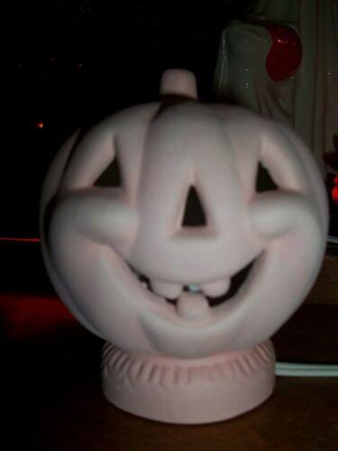 PINK FROST JACK-BE-LITTLE  Halloween TINY VTG 70S LOOK CERAMIC PUMPKIN JOL LIGHT