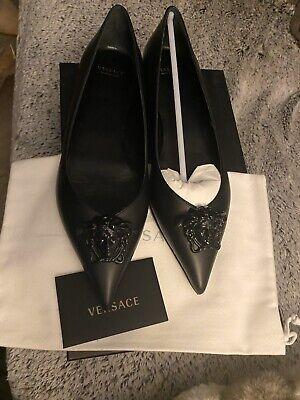 Versace Palazzo Medusa Flats Black Leather NIB 38.5 8.5