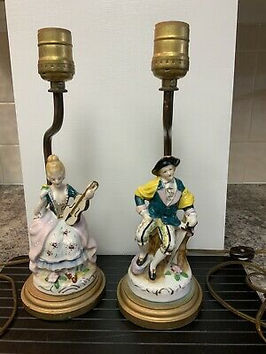 Chinese Couple Carved Stone Lamp Finials Tan and Jade Green on Bronze Tone Bases A Matching Pair