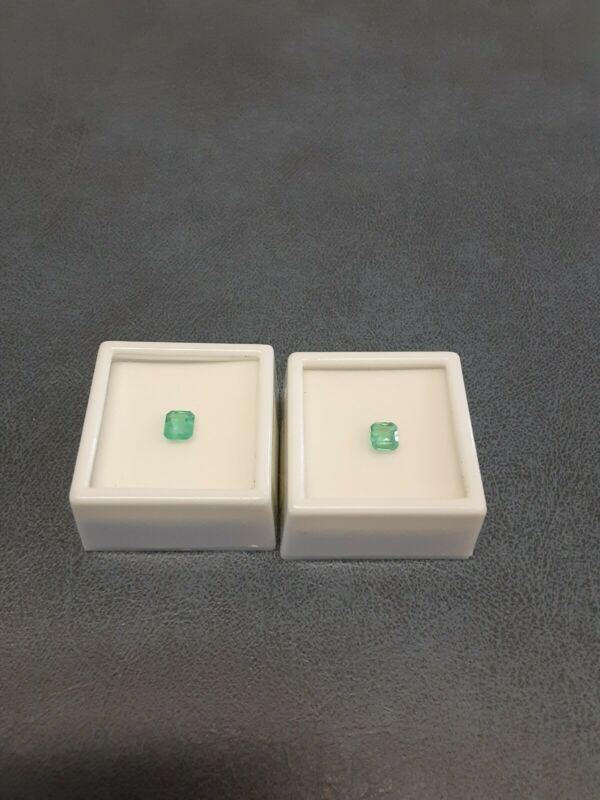 Set of 2 Loose Gemstomes/ Approx .50 ct /mm Varies EC Col Emerald