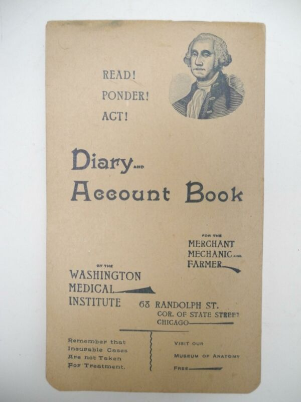 1893 Diary and Account Book ~ the Washington Medial Institute, Chicago, Illinois