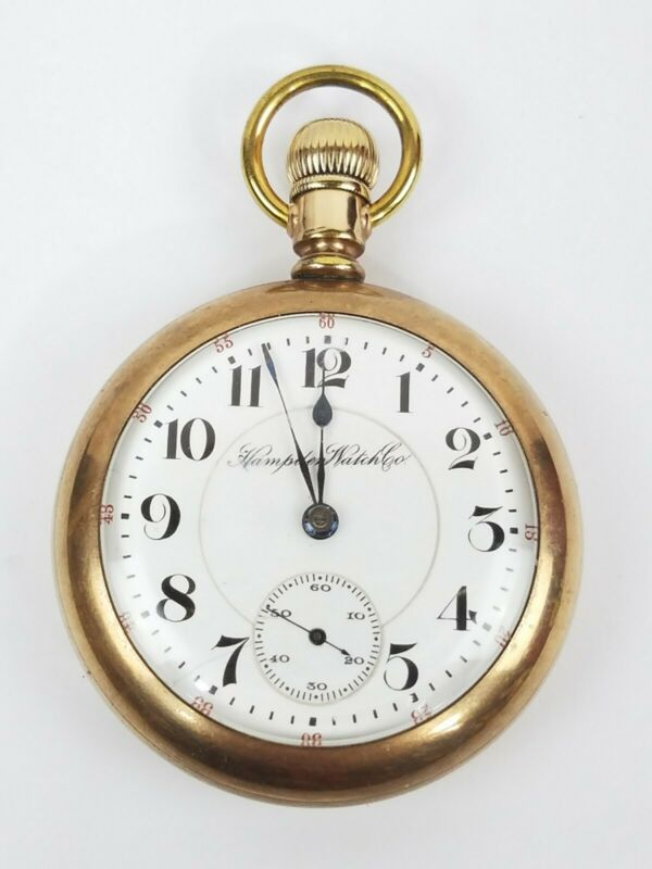 Hampden Pocket Watch 1911 Canton 18s - 17 Jewels 20yr gf RUNS mod 3 nice