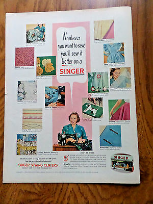 1952 Vintage Singer Sewing Machine Ad  You'll Sew iot Better on A Singer