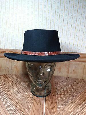 Irvine Park 100% Wool Cowboy Style Hat L Black Fedora USA Made