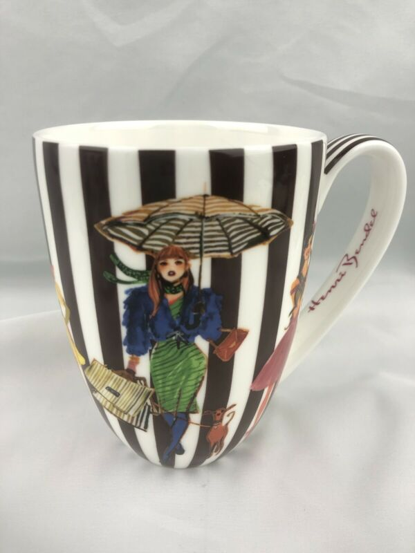 Henri Bendel Coffee Mug Striped Bone China Rare Find Excellent Condition