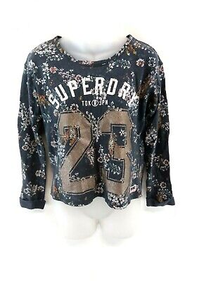 SUPERDRY Womens Long Sleeve T Shirt Top 2XS XXS Blue Cotton Poly Floral Cropped